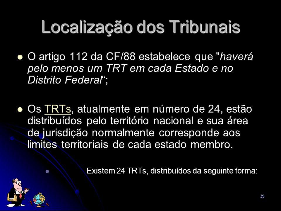 Localização dos Tribunais