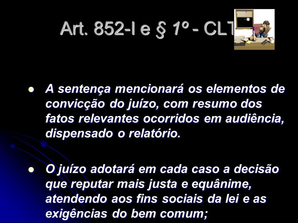 Art. 852-I e § 1º - CLT
