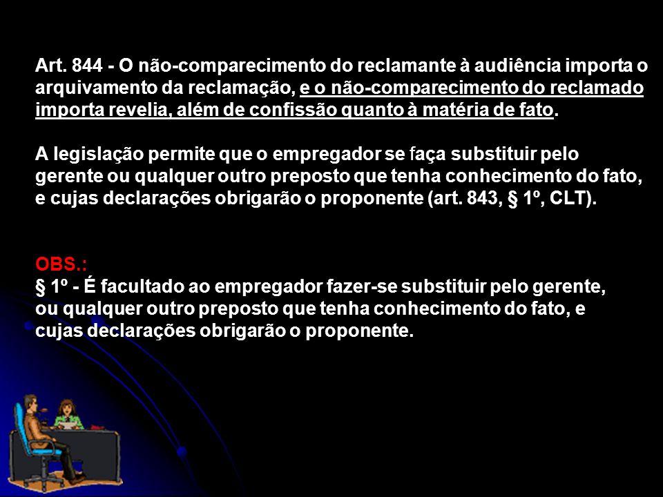 Art. 844 - O não-comparecimento do reclamante à audiência importa o