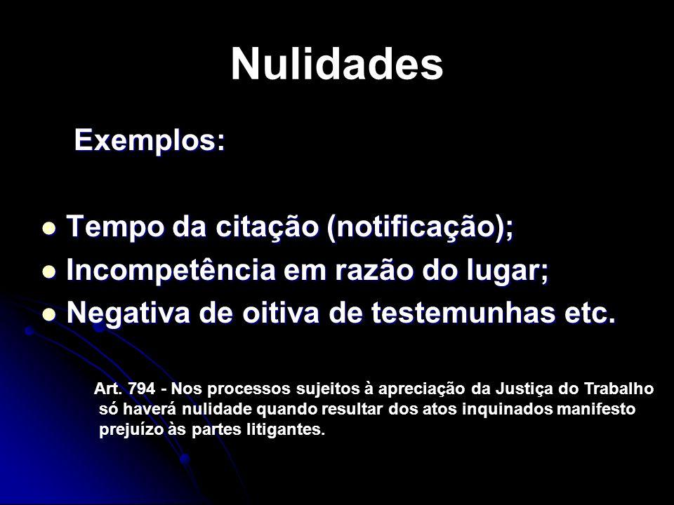 Nulidades Exemplos: Tempo da citação (notificação);