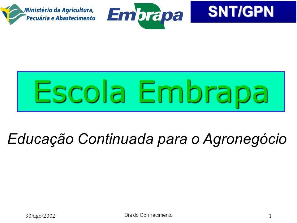 Escola Embrapa Educação Continuada para o Agronegócio 30/ago/2002