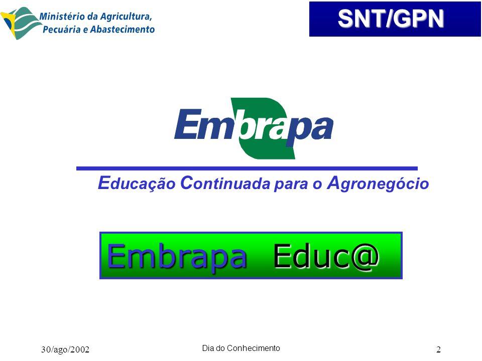 Embrapa Educ@ Educação Continuada para o Agronegócio 30/ago/2002