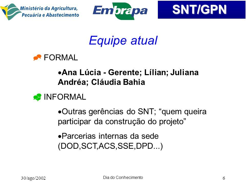 Equipe atual FORMAL. Ana Lúcia - Gerente; Lílian; Juliana Andréa; Cláudia Bahia. INFORMAL.