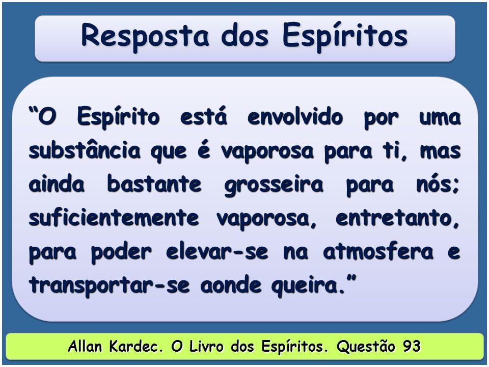 Resposta dos Espíritos Allan Kardec. O Livro dos Espíritos. Questão 93