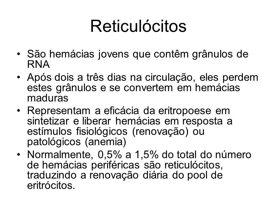 Reticulócitos São hemácias jovens que contêm grânulos de RNA