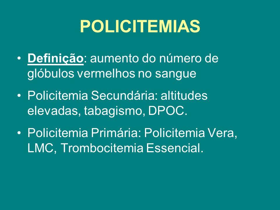POLICITEMIAS Definição: aumento do número de glóbulos vermelhos no sangue. Policitemia Secundária: altitudes elevadas, tabagismo, DPOC.