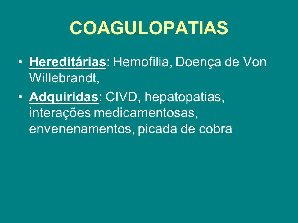 COAGULOPATIAS Hereditárias: Hemofilia, Doença de Von Willebrandt,