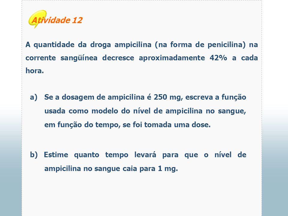 Atividade 12 A quantidade da droga ampicilina (na forma de penicilina) na corrente sangüínea decresce aproximadamente 42% a cada hora.