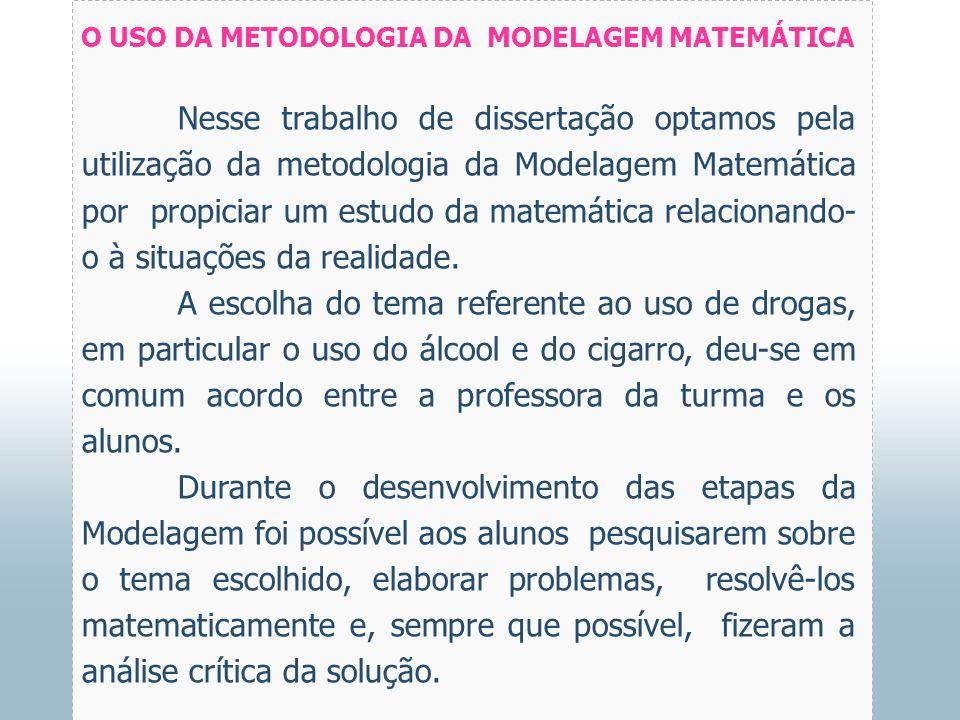 O USO DA METODOLOGIA DA MODELAGEM MATEMÁTICA