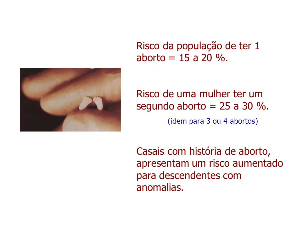 Risco da população de ter 1 aborto = 15 a 20 %.