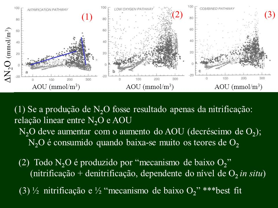(1) Se a produção de N2O fosse resultado apenas da nitrificação: