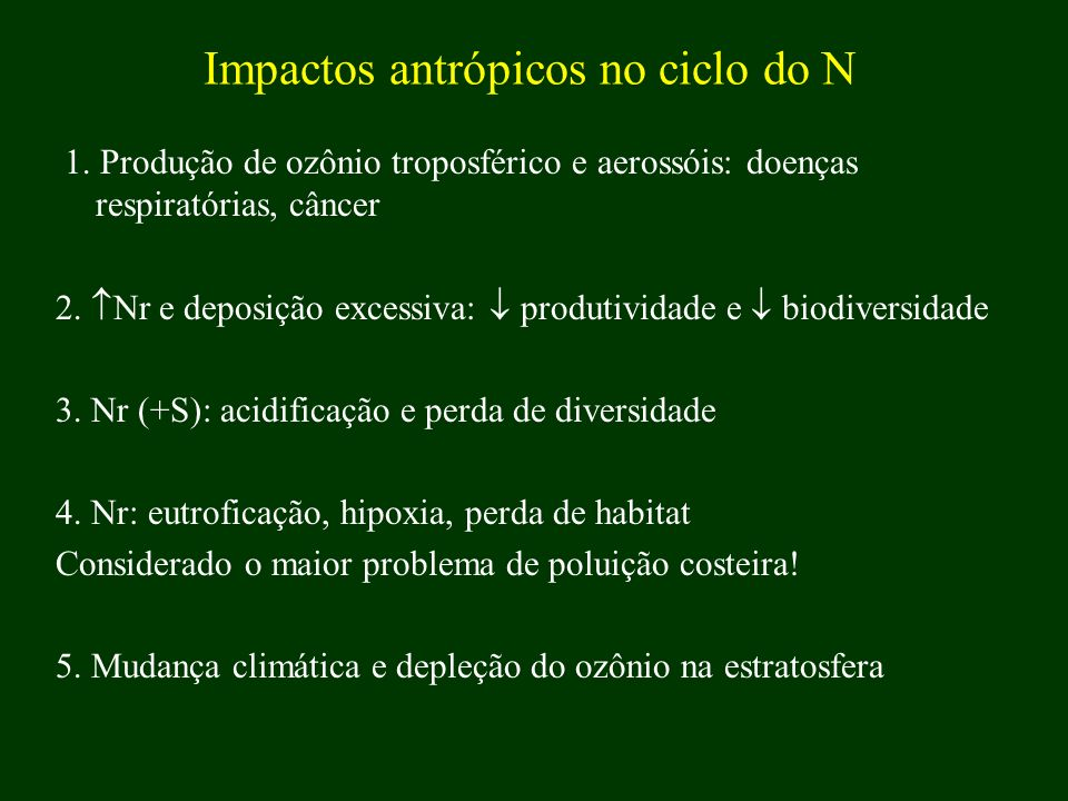 Impactos antrópicos no ciclo do N