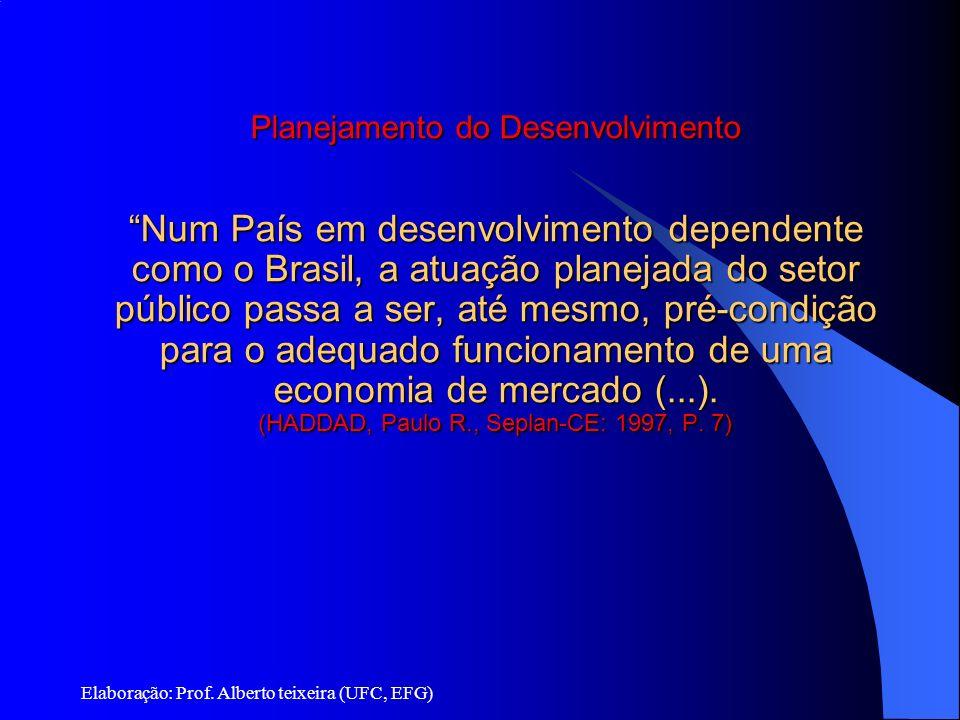 Planejamento e Desenvolvimento Planejamento do Desenvolvimento Num País em desenvolvimento dependente como o Brasil, a atuação planejada do setor público passa a ser, até mesmo, pré-condição para o adequado funcionamento de uma economia de mercado (...). (HADDAD, Paulo R., Seplan-CE: 1997, P. 7)