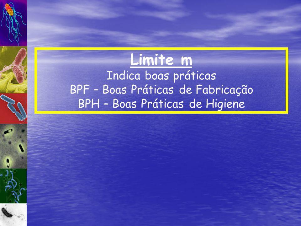 Limite m Indica boas práticas BPF – Boas Práticas de Fabricação