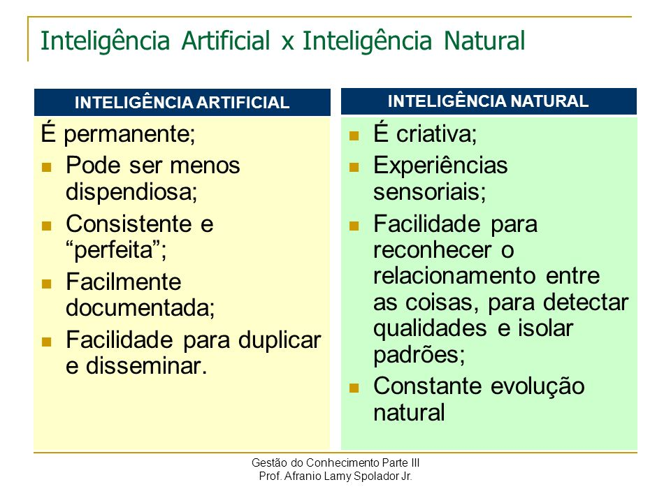 Inteligência Artificial x Inteligência Natural