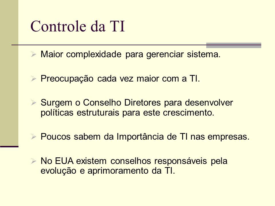 Controle da TI Maior complexidade para gerenciar sistema.