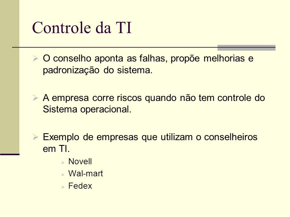 Controle da TI O conselho aponta as falhas, propõe melhorias e padronização do sistema.
