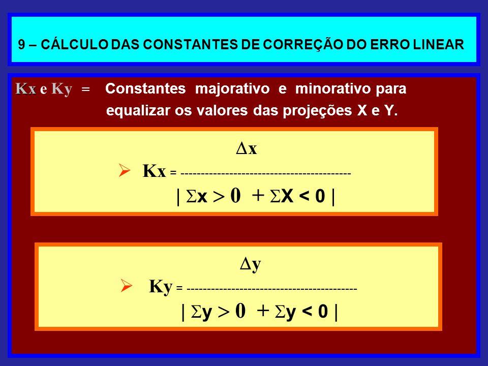 9 – CÁLCULO DAS CONSTANTES DE CORREÇÃO DO ERRO LINEAR