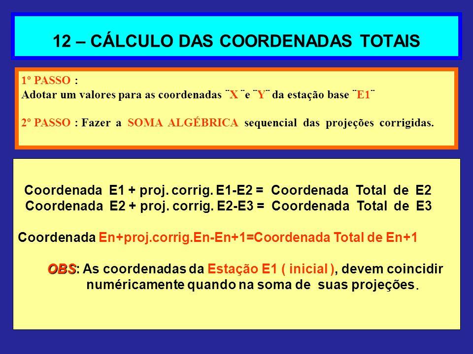 12 – CÁLCULO DAS COORDENADAS TOTAIS