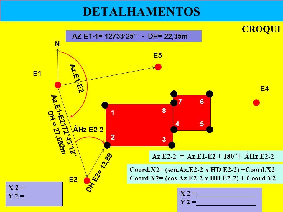 DETALHAMENTOS CROQUI AZ E1-1= 12733'25 - DH= 22,35m N E5 E1 Az.E1-E2