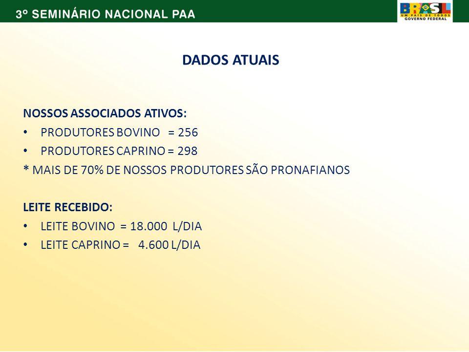 DADOS ATUAIS NOSSOS ASSOCIADOS ATIVOS: PRODUTORES BOVINO = 256