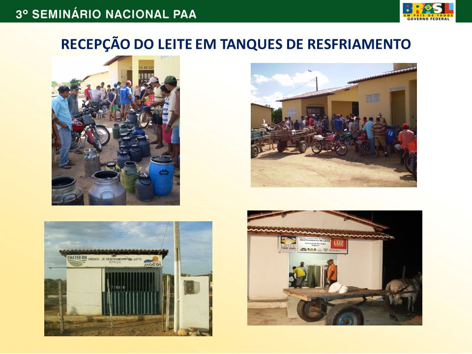 RECEPÇÃO DO LEITE EM TANQUES DE RESFRIAMENTO