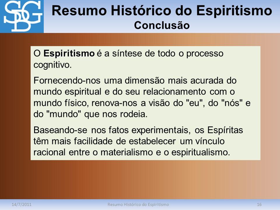 Resumo Histórico do Espiritismo Conclusão
