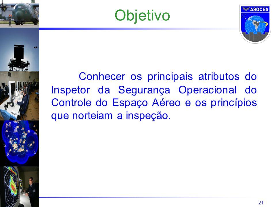 ObjetivoConhecer os principais atributos do Inspetor da Segurança Operacional do Controle do Espaço Aéreo e os princípios que norteiam a inspeção.