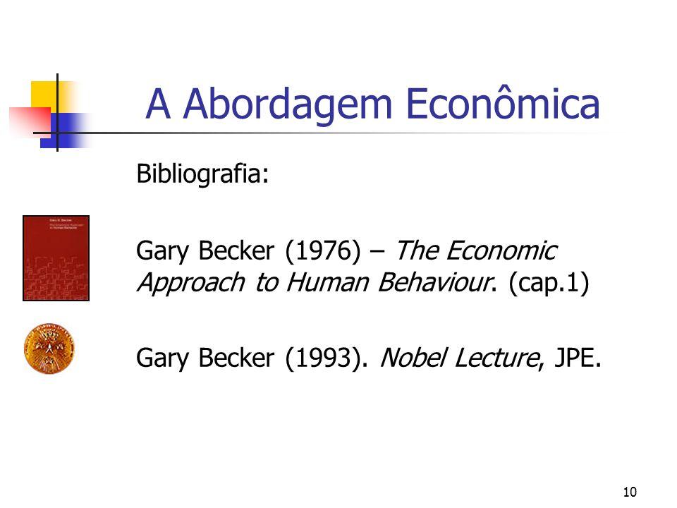 A Abordagem Econômica Bibliografia: