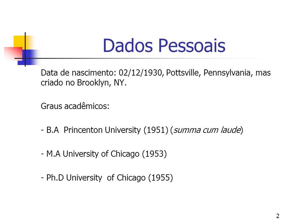 Dados Pessoais Data de nascimento: 02/12/1930, Pottsville, Pennsylvania, mas criado no Brooklyn, NY.