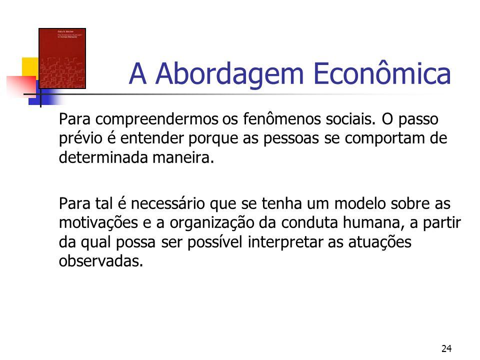 A Abordagem Econômica Para compreendermos os fenômenos sociais. O passo prévio é entender porque as pessoas se comportam de determinada maneira.