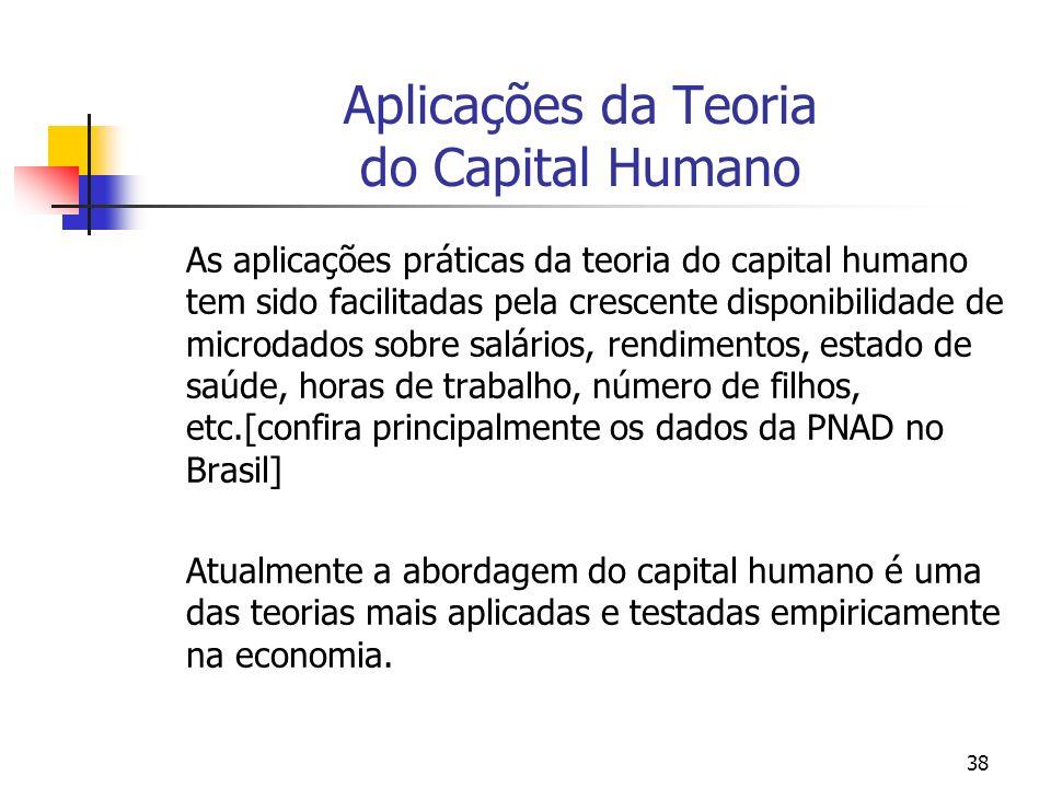 Aplicações da Teoria do Capital Humano