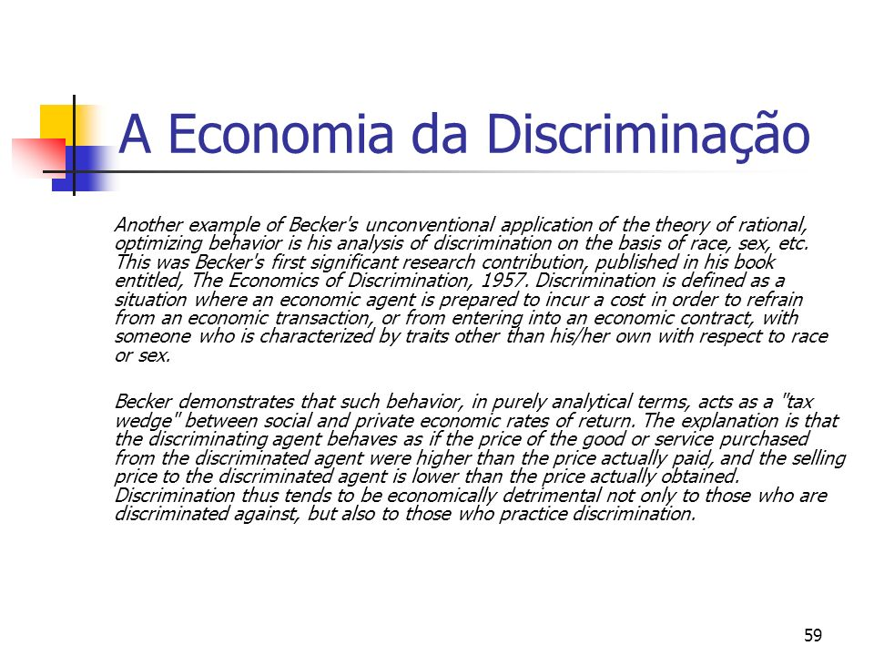 A Economia da Discriminação