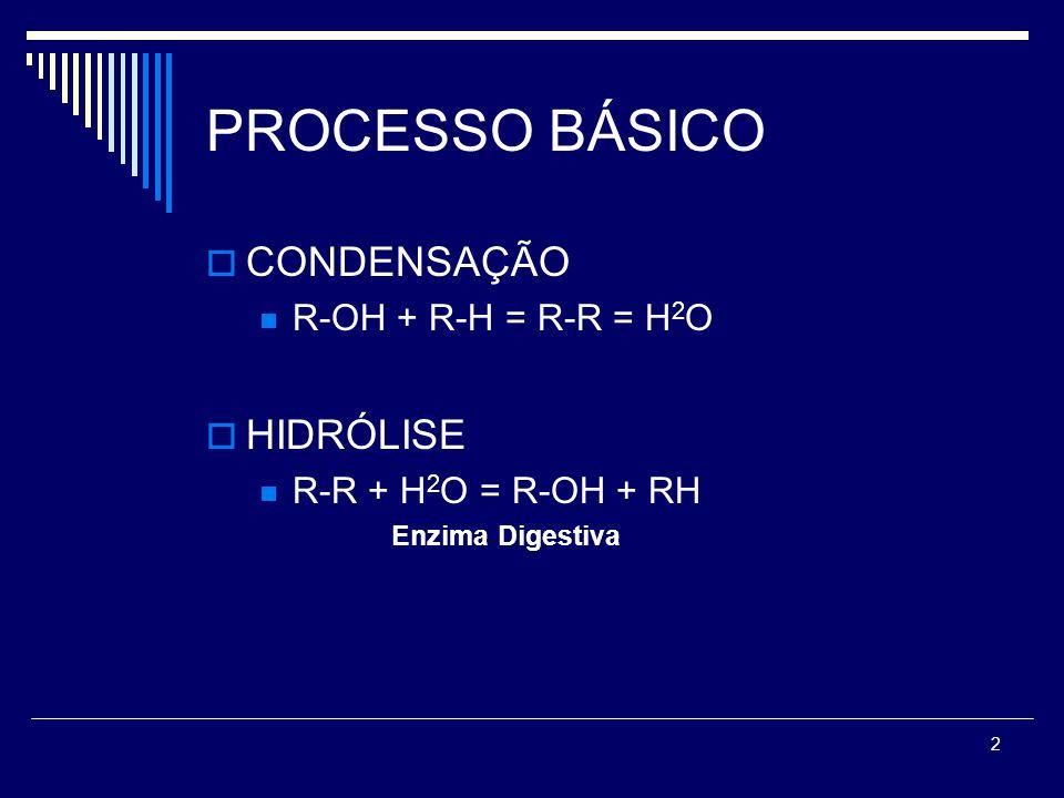 PROCESSO BÁSICO CONDENSAÇÃO HIDRÓLISE R-OH + R-H = R-R = H2O