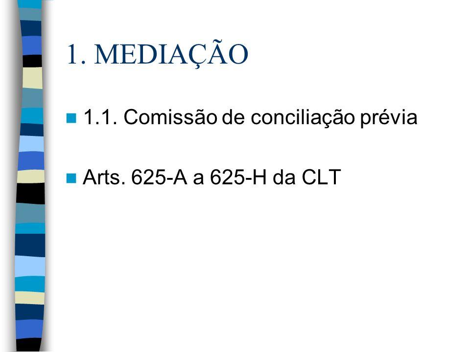 1. MEDIAÇÃO 1.1. Comissão de conciliação prévia