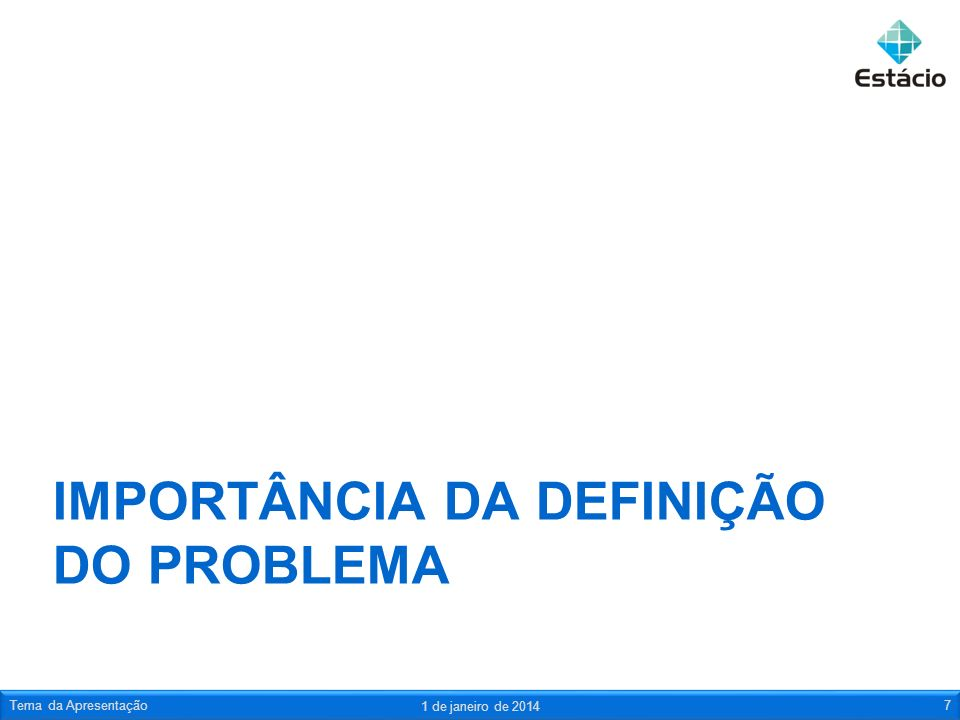 IMPORTÂNCIA DA DEFINIÇÃO DO PROBLEMA