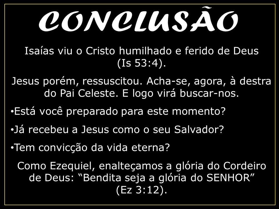 Isaías viu o Cristo humilhado e ferido de Deus (Is 53:4).