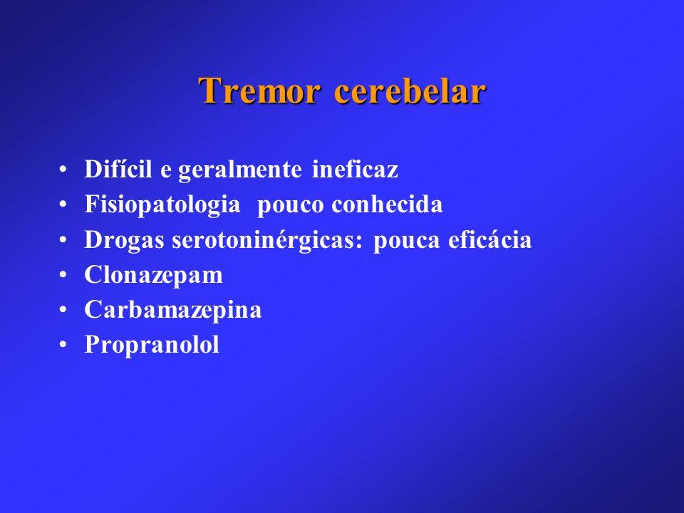 Tremor cerebelar Difícil e geralmente ineficaz