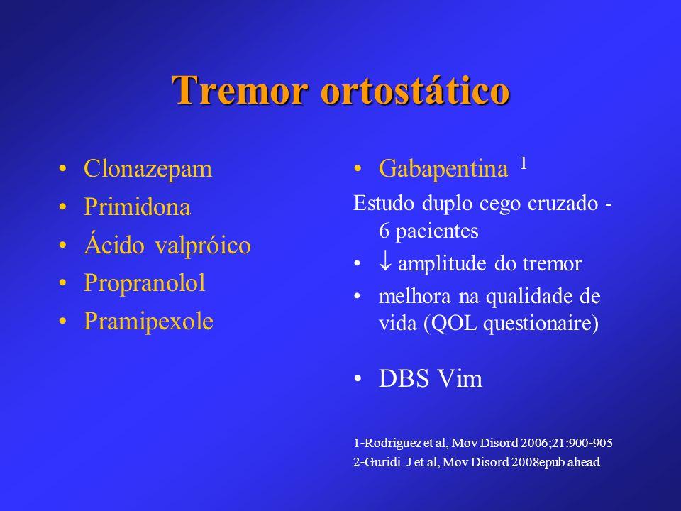Tremor ortostático Clonazepam Primidona Ácido valpróico Propranolol