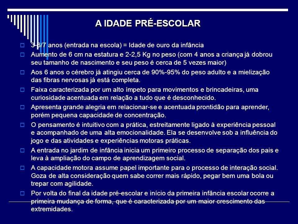 A IDADE PRÉ-ESCOLAR 3-6/7 anos (entrada na escola) = Idade de ouro da infância.