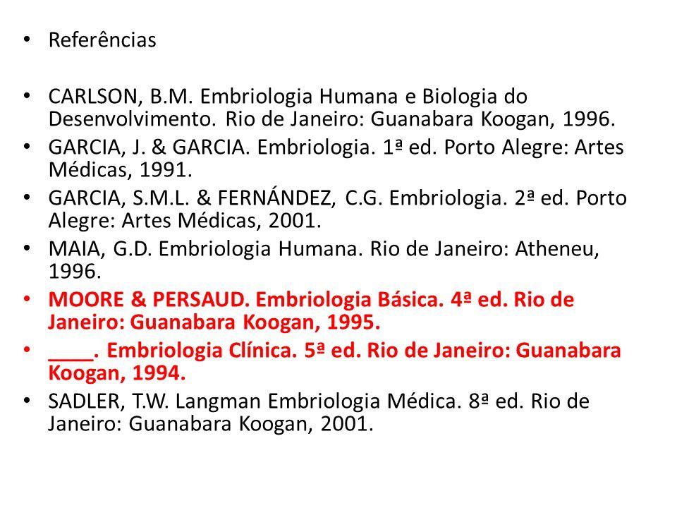 Referências CARLSON, B.M. Embriologia Humana e Biologia do Desenvolvimento. Rio de Janeiro: Guanabara Koogan, 1996.