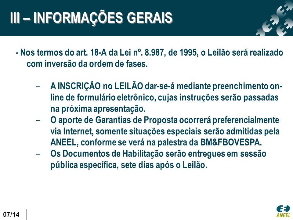 III – INFORMAÇÕES GERAIS
