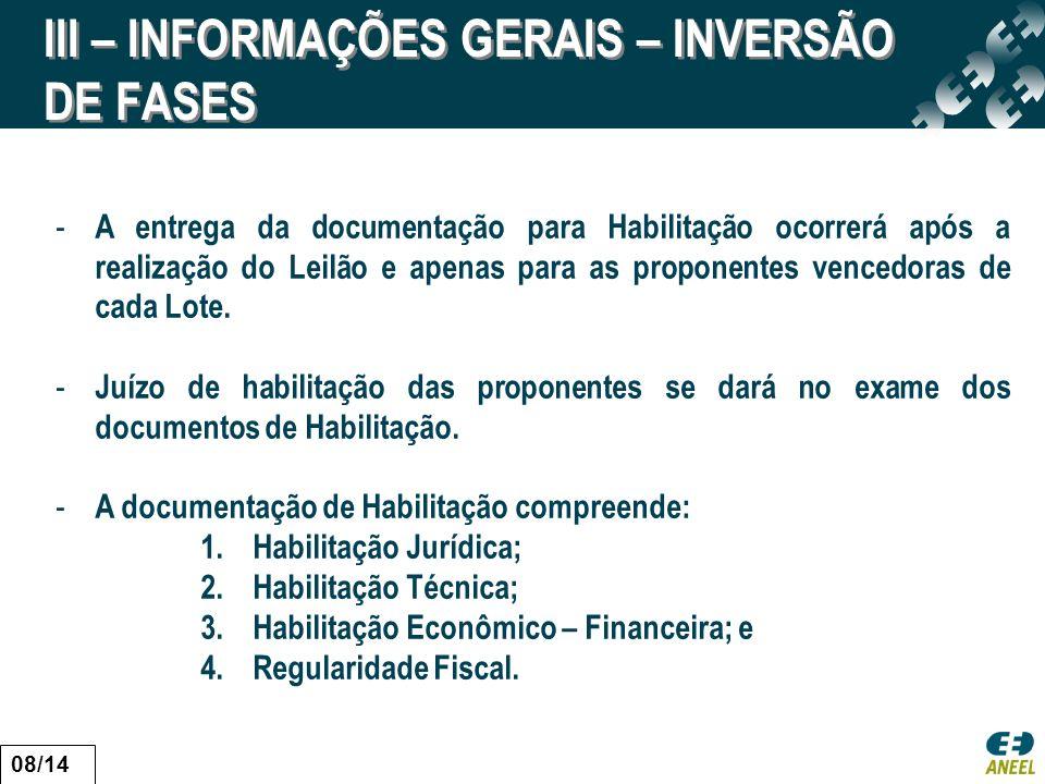 III – INFORMAÇÕES GERAIS – INVERSÃO DE FASES