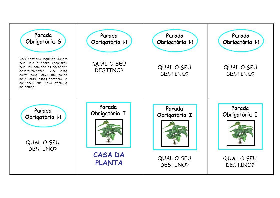 CASA DA PLANTA Parada Obrigatória G Parada Obrigatória H