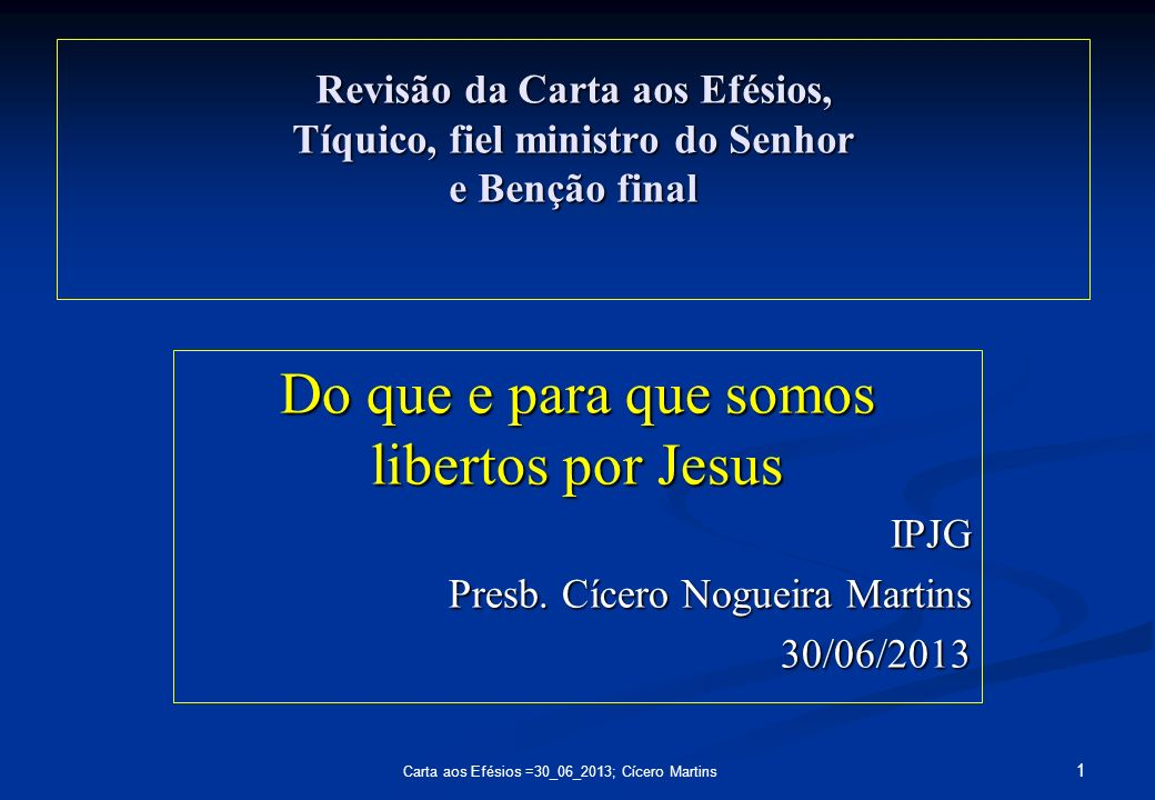 Do que e para que somos libertos por Jesus