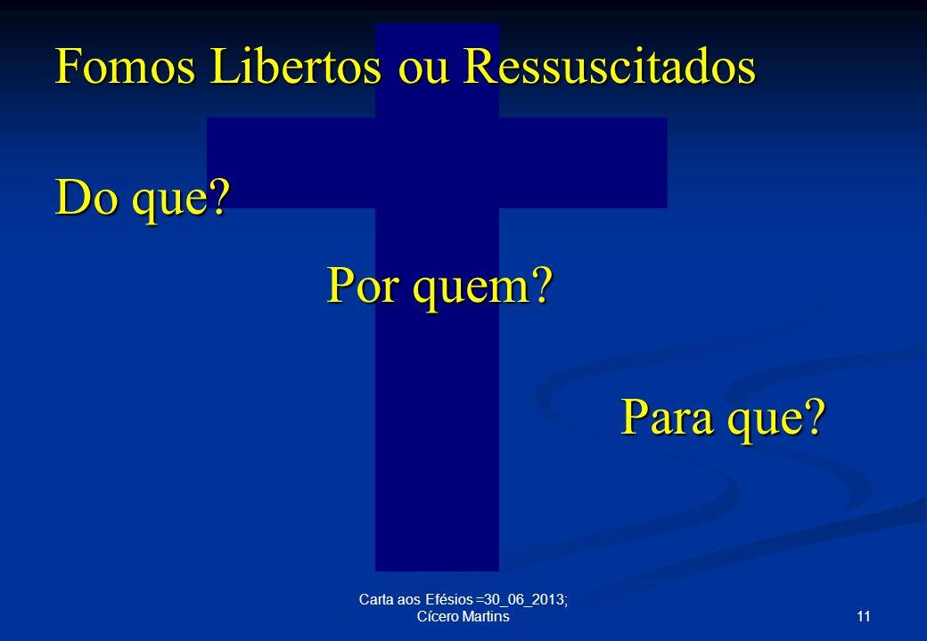 Fomos Libertos ou Ressuscitados Do que Por quem Para que