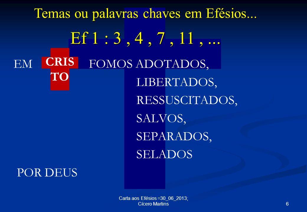 Temas ou palavras chaves em Efésios...