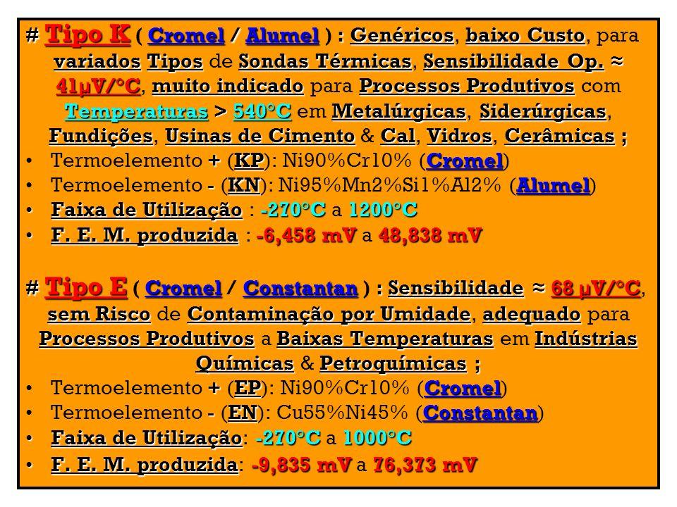 # Tipo K ( Cromel / Alumel ) : Genéricos, baixo Custo, para