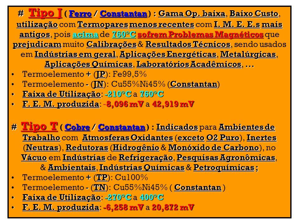 # Tipo J ( Ferro / Constantan ) : Gama Op. baixa, Baixo Custo,
