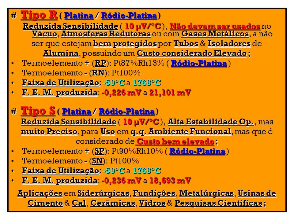 # Tipo R ( Platina / Ródio-Platina )